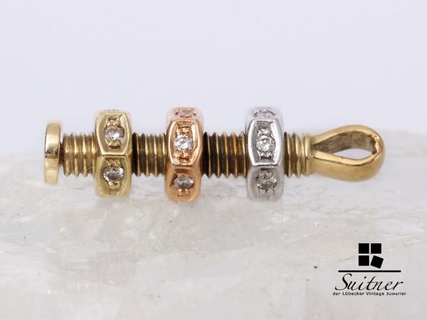 extravaganter Anhänger Schraube 585 Gold tricolor mit 18 Brillanten Luxus