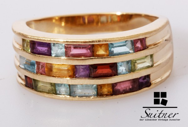 Unikat Multi Color Edelstein Ring 585 Gold Citrin Topas Amethyst Gr. 61