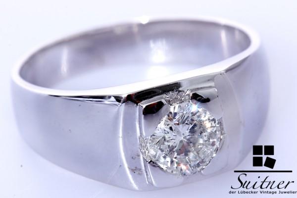 großer Diamant Ring mit 1,10ct 585 Weißgold Gr. 63 Brillant Expertise