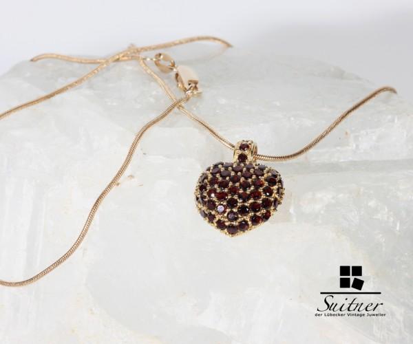 Collier böhmischer Granat mit Kette aus 585 Gold Schlangenkette Pendant Bohemia Herz