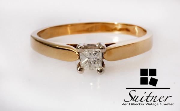 moderner Verlobungsring 585 Gold Diamant Princesscut 0,16ct Gr. 55