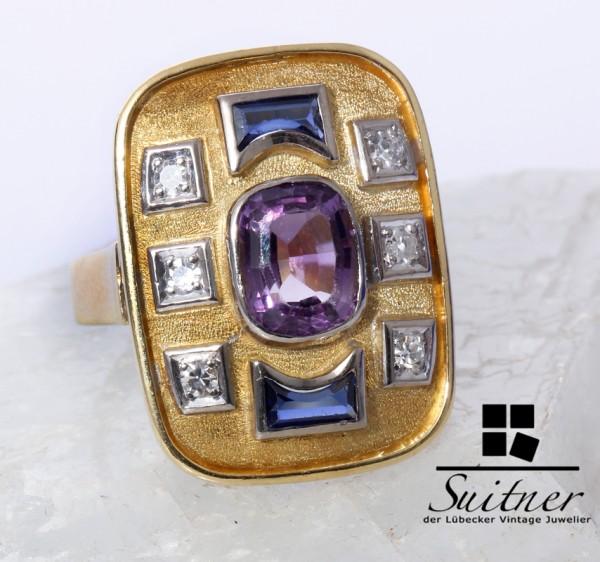 Imposanter Art Deco Edelstein Diamant Ring Saphir Amethyst 750 Gold Gr. 54