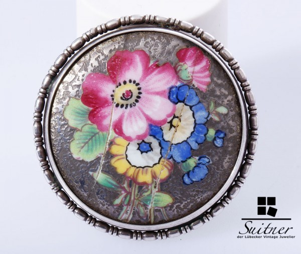 antike Rosenthal Brosche 835 Silber Porzellan Blume