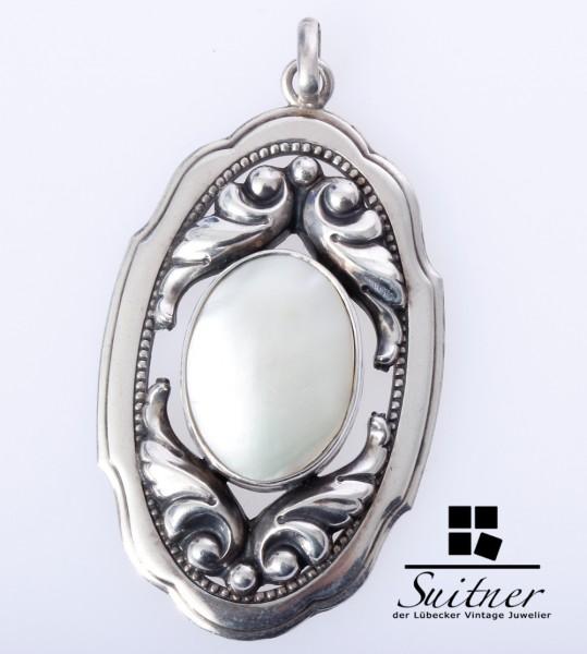 antiker Perlmutt Anhänger aus 800 Silber gefertigt Jugendstil Art Nouveau