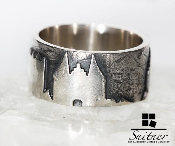 toller Ring aus Silber mit Lübeck Motiven Handarbeit - Unikat Holstentor City 7 Türme