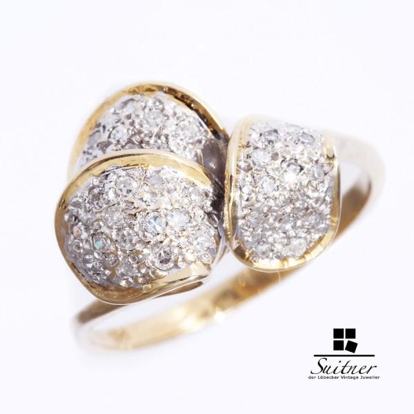 Blüten Ring mit Diamanten aus Gold 585 Gr. 53