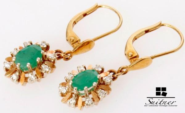 klassische Smaragd Brillant Ohrhänger aus 585 Gold Ohrringe