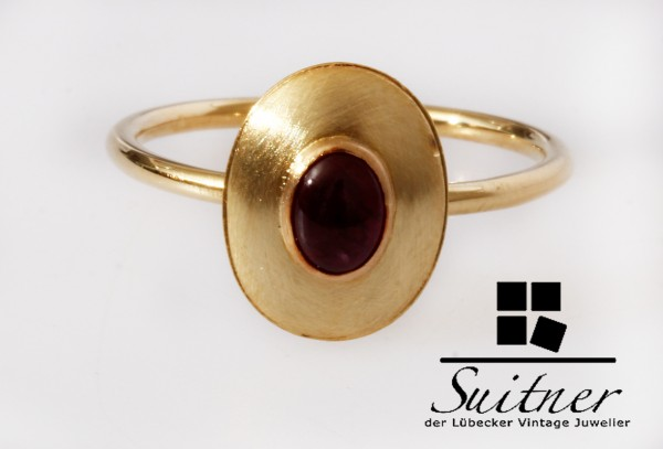 moderner Ring Handarbeit Ring 585 Gold Rubin roter Rubelith Gr. 56 Oval