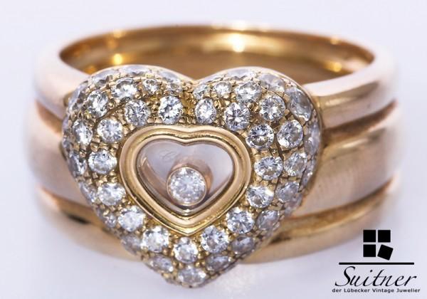 Luxus Chopard Ring Happy Diamonds 750 Gold Gr. 59 NP 14.400,-