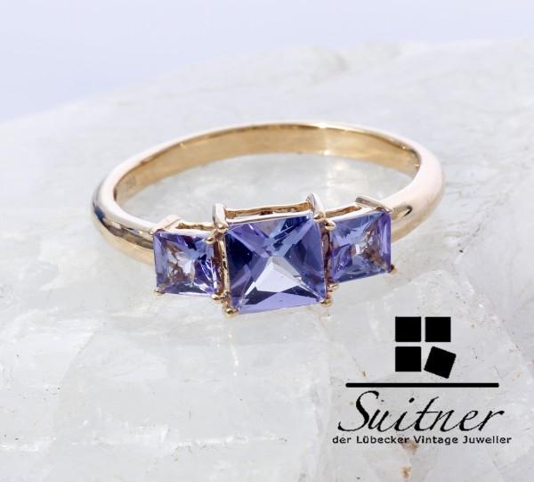 3 Stein Ring - mit Tansanit 750 Gold Gr. 59 feine Farbe Handarbeit