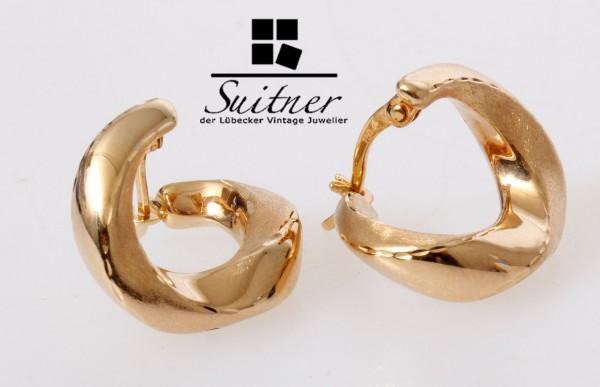 moderne Design 750 Gold Creolen geschwungen Ohrringe neuwertig