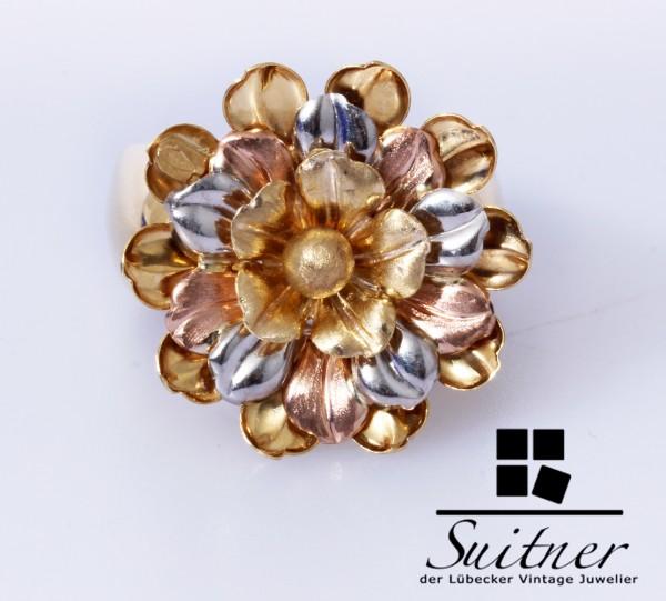 extravaganter XL Blumen Ring aus Gold Größe 56 Rotgold Weißgold
