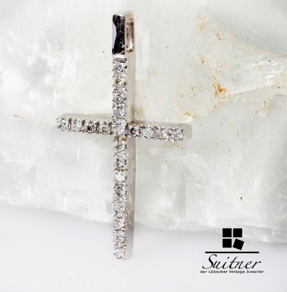 0,50ct. Brillant Kreuz Anhänger 585 Weißgold Design Gold mit Diamanten