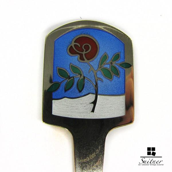 A. Michelsen Jahreslöffel 1977 Emaille Denmark Silber
