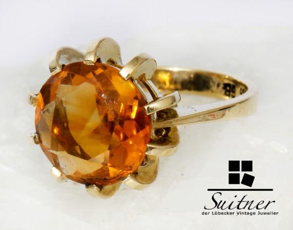 toller Vintage Citrin Ring aus 585 Gold 60er Jahre Gr. 50 Honiggelber Stein