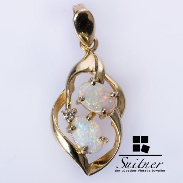 feiner Opal Brillant Anhänger aus 585 Gold - in floraler Optik