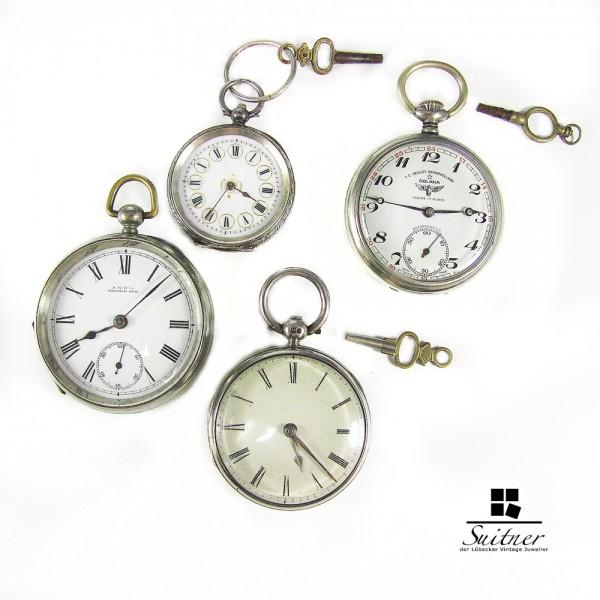 4 Antike Taschenuhrern Waltham Golana z.T. Silber Eisenbahneruhr LOT