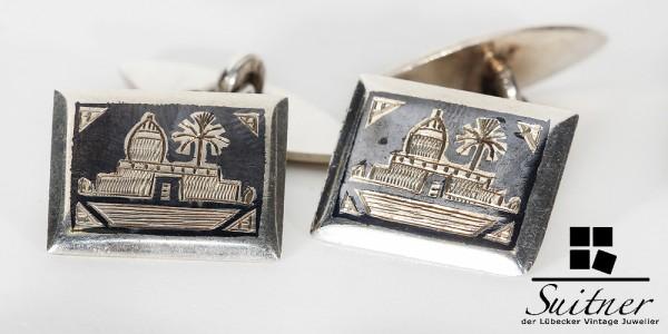 Art Deco Manschettenknöpfe aus 835 Silber mit Niello Afrika Palmen