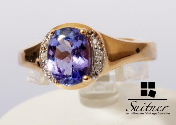 Harry Ivens Ring Tansanit Ring Brillant 585 Gold Gr. 50