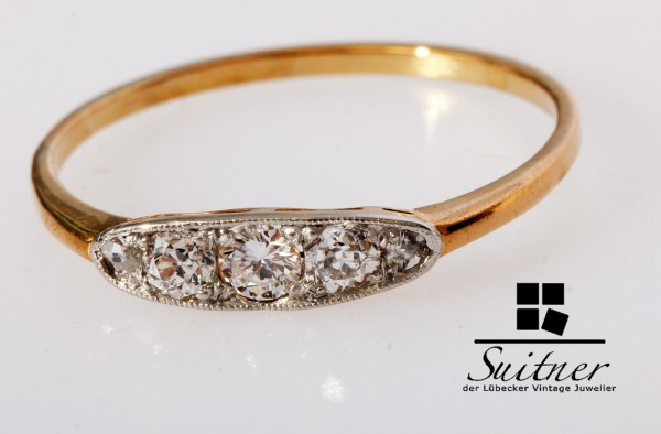 hoch feiner antiker Ring Altschliff Diamanten 750 Gpld Gr. 59 Bandring Luxus