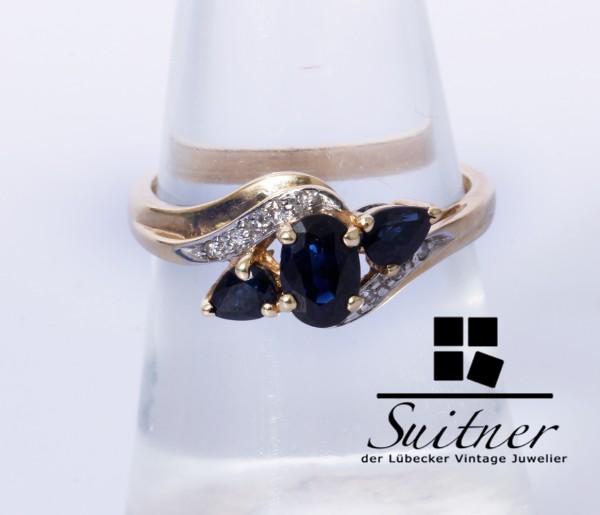 Saphir Ring mit Brillanten aus 585 Gold Gr. 54 feine Fertigung tief Blau