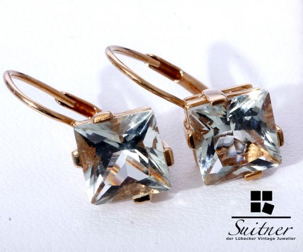 extravagante Blautopas Hänger aus 585 Gold Ohrhänger Blau Caro