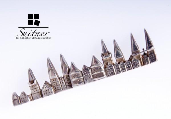 Kleine hochwertige Lübeck-Brosche aus 925er Silber