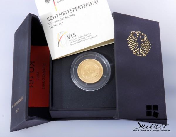 50 Euro Goldmünze Lutherrose 999 Gold 1/4 Unze mit Box und Zertifikat