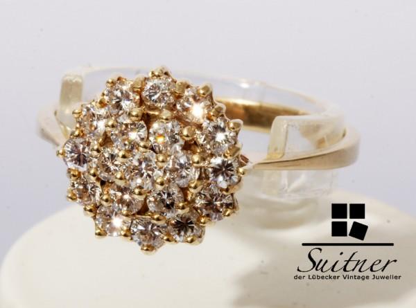 wertvoller Cluster Ring 0,91ct Brillant 585 Gold Gr. 56 Blume Schneeflocke