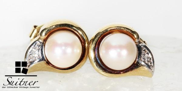 Perlen Ohrstecker 585 Gold mit Akoya Perle und Diamant