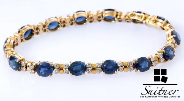 Luxus 24,65ct.Saphir Armband mit Brillanten 750 Gold Kornblume Blau Juwelen