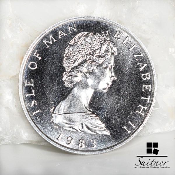 1 Unze Platin Isle of Man One Noble 1983 Platinum Wikinger - selten (1)