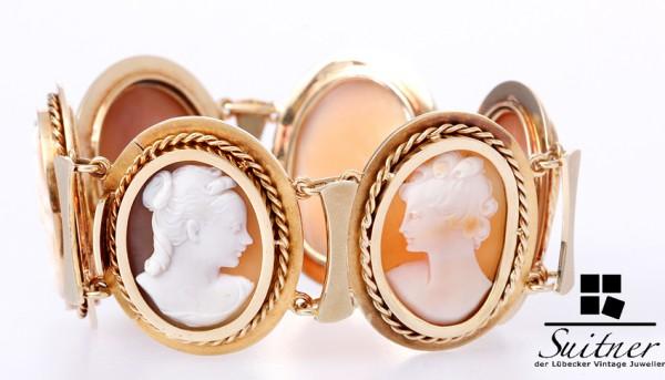 Armband XL Gemmen Kameen 585 Gold Opulent massiv