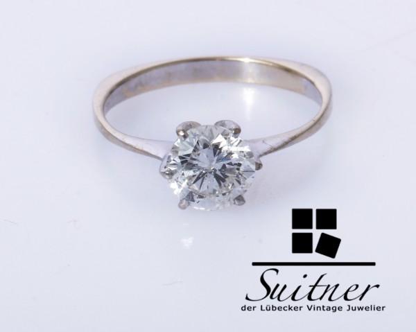 wertvoller 1,15ct Brillant Ring aus 585 Weißgold Gr. 53 Verlobungsring