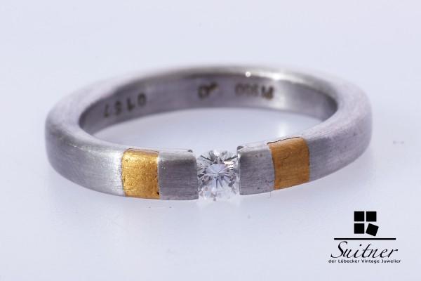 Platin Ring Brillant ca. 0,16 ct. Solitär Gold Gr. 53