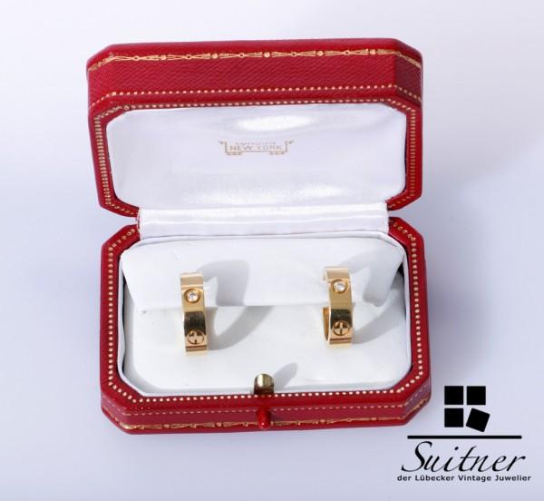 Cartier Love Brillant Creolen 750 Gold in Box Ohrringe Diamonds