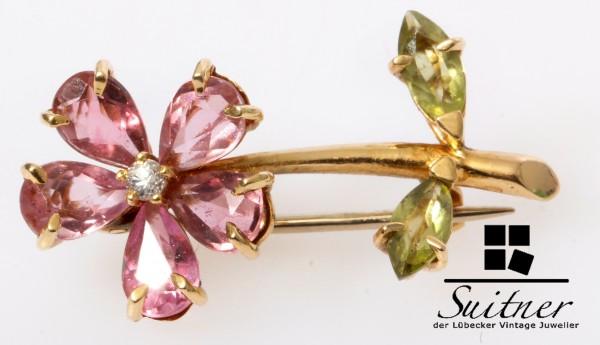 wertvolle antike Morganit und Peridot Blumen Brosche Brillant 750 Gold