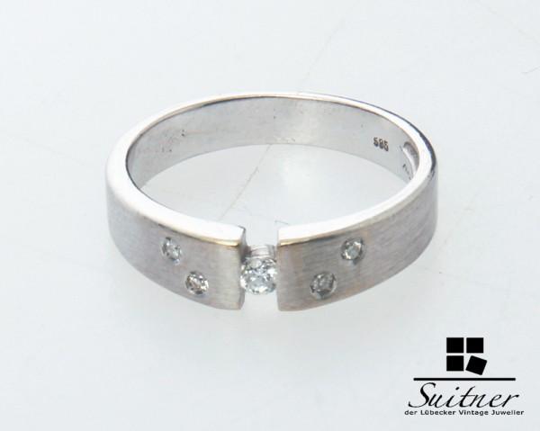 moderner Brillant Ring 585 Weißgold Gr. 52 Spannring mattiert Sternenhimmel