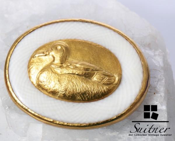 Unikat Brosche 750 und 900 Gold Ente mit Zeitungsbericht Lalique Wendelstein Trude