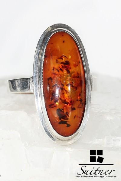 großer Bernstein Ring aus Silber im Stile des Art Deco - Amber Silver