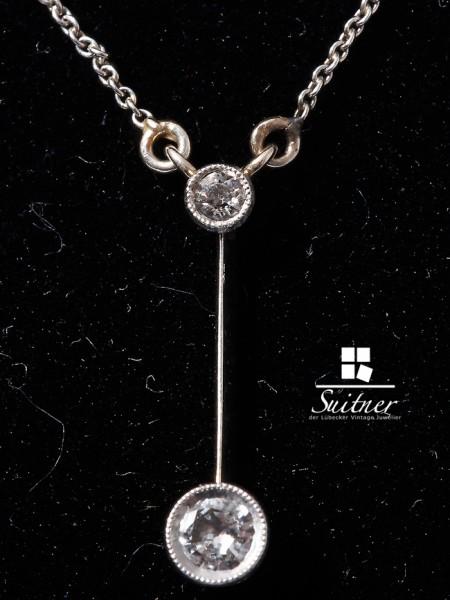 Antike prachtvolle Lavaliere Jugendstil Kette aus Platin und Gold mit Diamanten