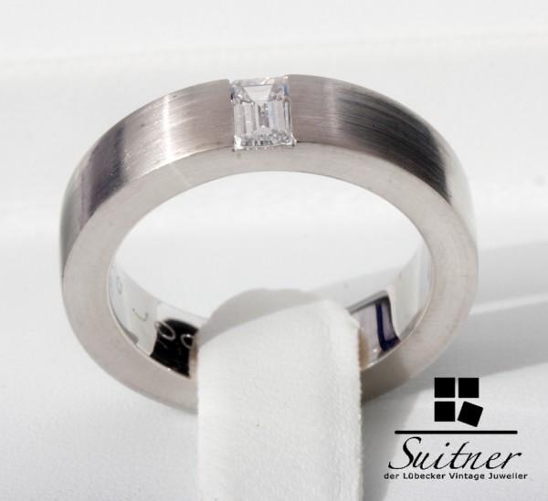 noor Ring 750 Weißgold Diamant Baguette 0,43 ct Palladium Spannring
