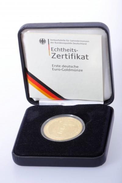 200 Euro Gold J Währungsunion in Etui mit Zertifikat 1 OZ Feingold