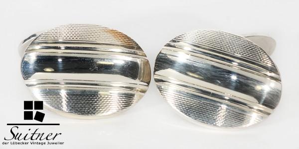 Art Deco Manschettenknöpfe aus 835 Silber Gold ovales Design NOS Cuff Links