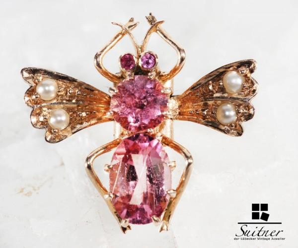 antiker Anstecker im Stile Faberge Jugendstil Biene 585 Gold Turmalin Rubin