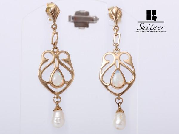 Jugendstil Ohrringe Opal Süßwasserzuchtperle Gold Gelbgold Hänger