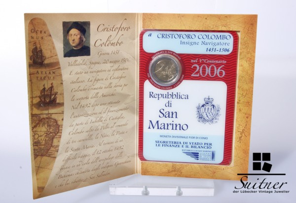 San Marino 2,-€ 2006 Christoph Colombo Originalverpackung Euro in Blister