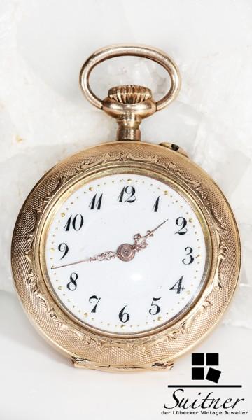 antike Taschenuhr 585 Gold Open Face mit Lack Emaille Dekor Art Nouveau JR