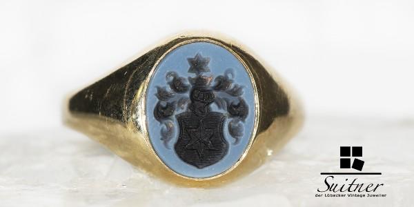 Siegelring mit Wappen Ritter in Lagenstein - 585 Gold Siegel mit Stern Adel
