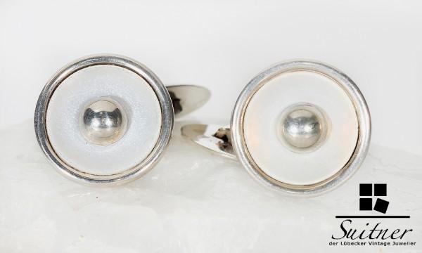 Art Deco Manschettenknöpfe aus 835 Silber mit Perlmutt rund Dekor Design